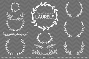 12 Hand Drawn Laurel Wreath Vector