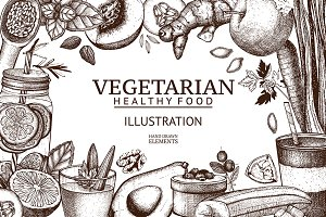Vegetarian food sketch + BONUS