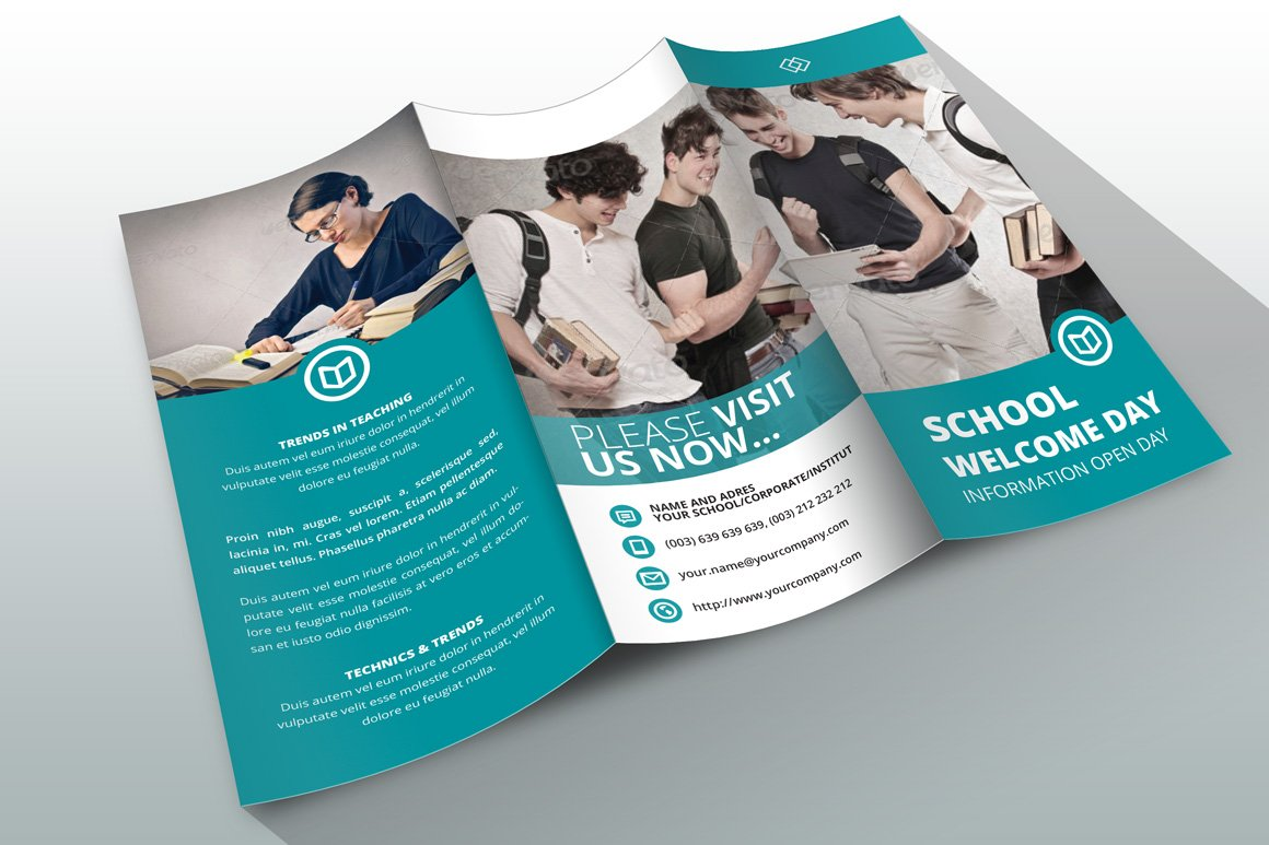 School Trifold Brochure Photos Graphics Fonts Themes Templates - Tri fold school brochure template