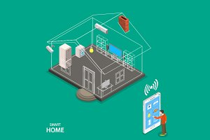 Smart home isometric concept