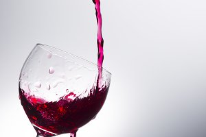 Wine pouring into a glass