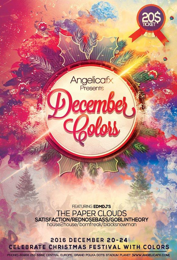 december colors flyer template flyer templates creative market