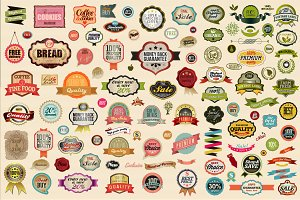Old style vector labels and ribbons