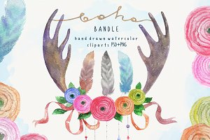 Watercolor bandle in Boho style