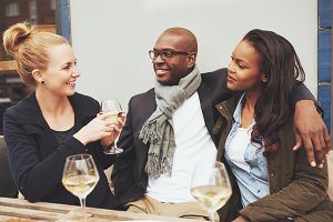 Ethnic friends enjoying life