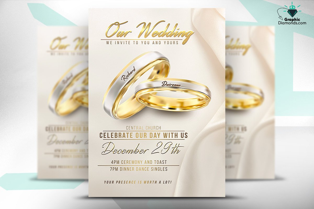 Wedding Flyer PSD Template ~ Flyer Templates ~ Creative Market