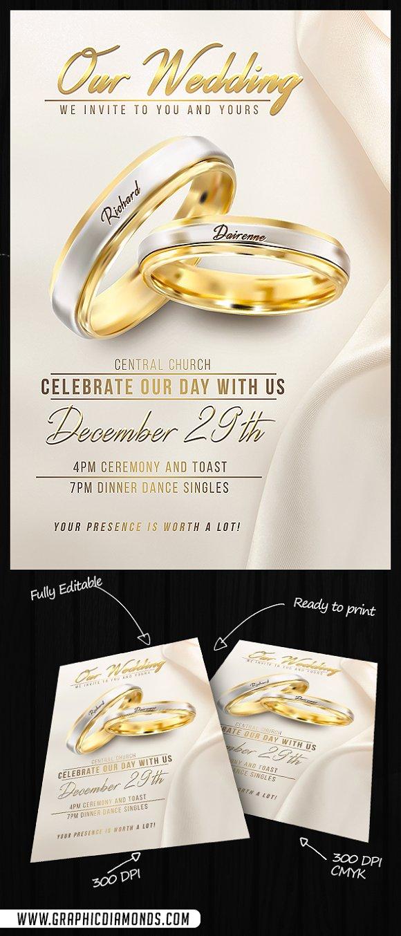 Wedding Flyer PSD Template Flyer Templates Creative Market – Wedding Flyer