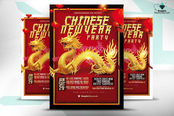 chinese new year flyer template flyers