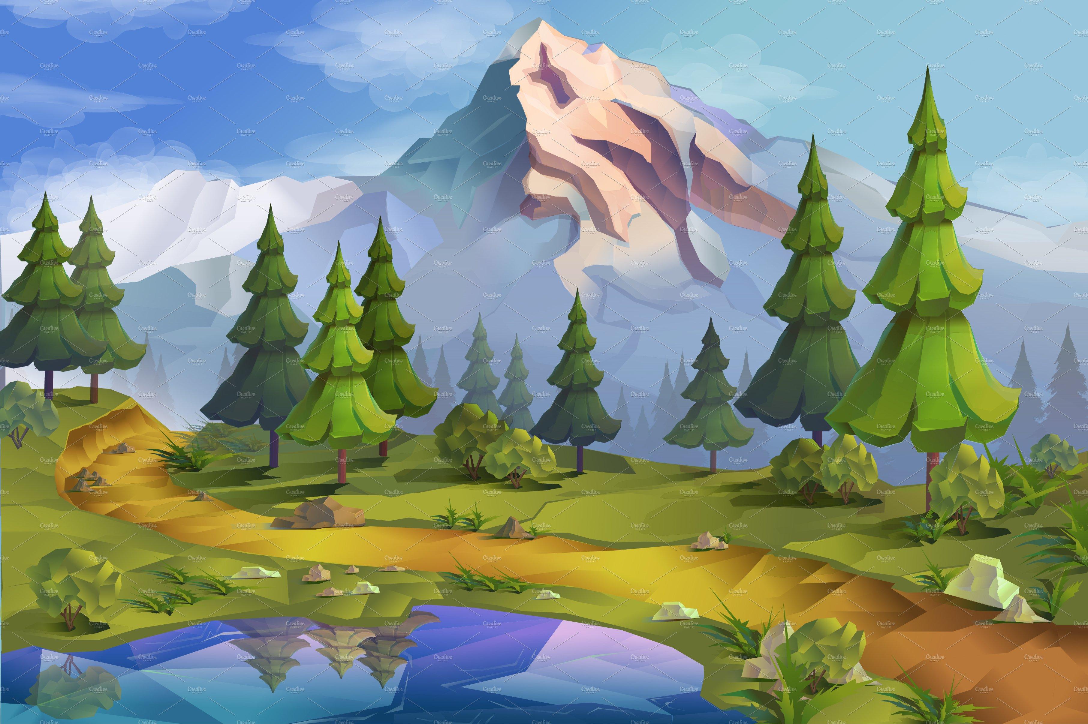 Nature, landscape, vector background ~ Illustrations ~ Creative Market