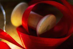 Spool of christmas red ribbon.