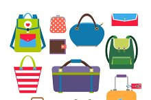 Bags and luggage flat icons