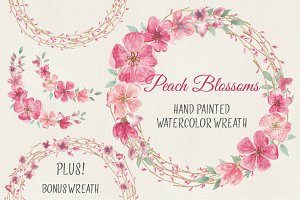 Watercolor wreath: peach blossoms