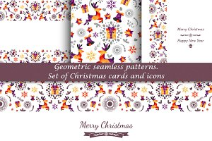 Geometric seamless patterns, cards