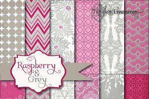 Raspberry & Grey Digital Paper