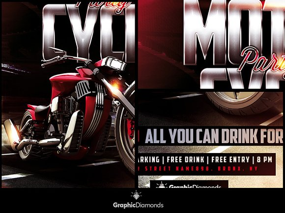 motorcycle flyer party flyer templates creative market