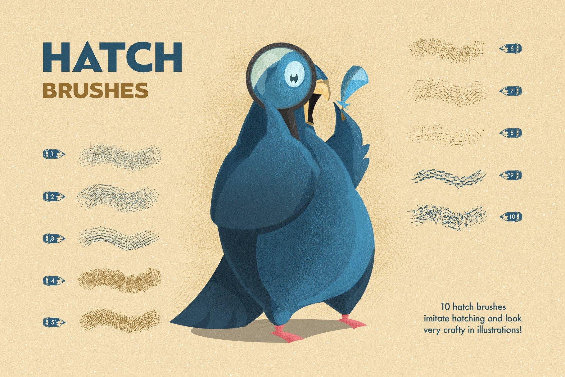 6 hatch brushes 7