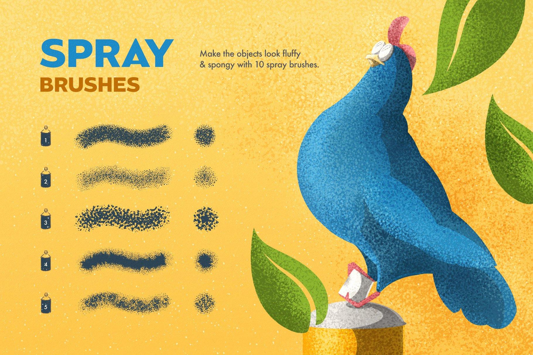 7 spray brushes 8