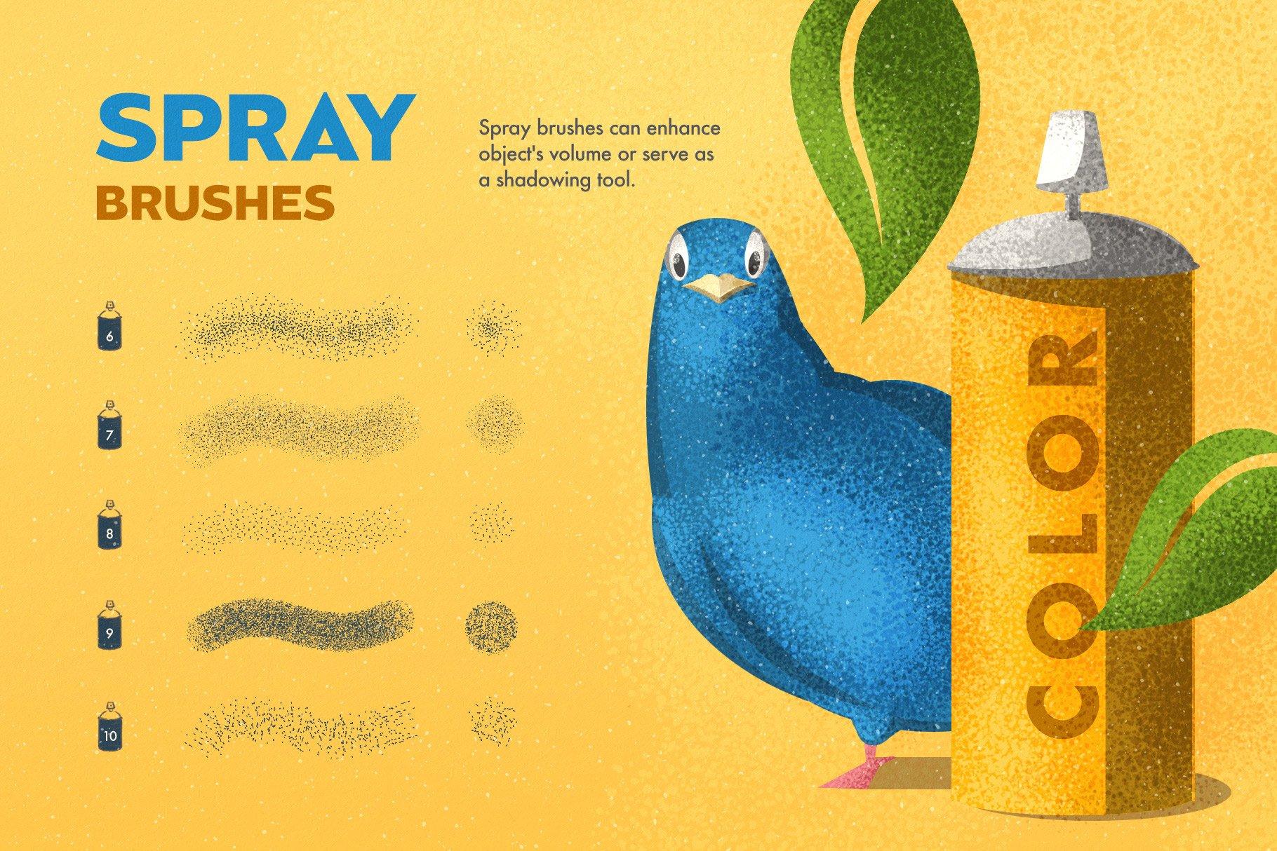 8 spray brushes 9