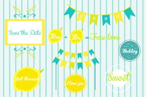 Set wedding items in a bright lemon-