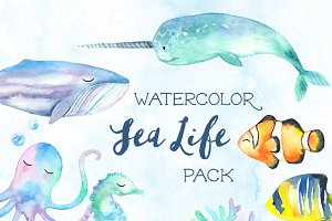 Sweet Sea Life Watercolor Pack