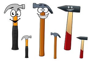 Cartoon hammers with smiling face