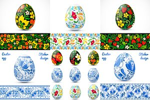 Ornate easter eggs vector set (14+5)