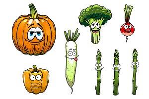 Broccoli, asparagus, radish,pumpkin