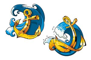 Cartoon ship anchors on sea water wa