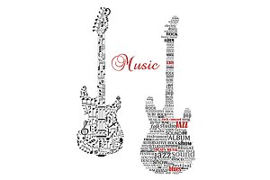 Classic guitars with words and music