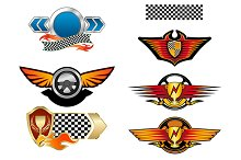Racing sports emblems and symbols