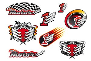 Racing and motocross emblems or symb