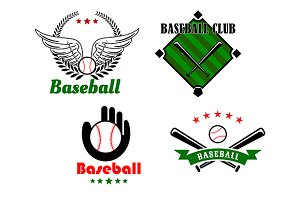 Baseball sport game emblems