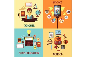 Flat concept for web education, scho