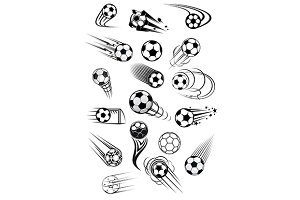 Football or soccer ball symbols in b