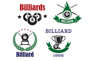 Retro emblems for billiards with cue