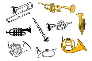 Wind instruments in sketch and carto