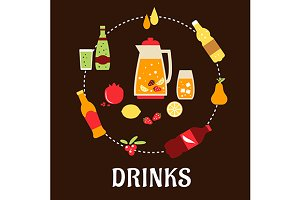 Beverages and drinks flat compositio