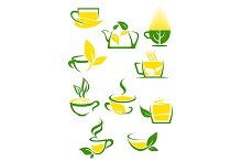 Green tea icons with outlined cups a