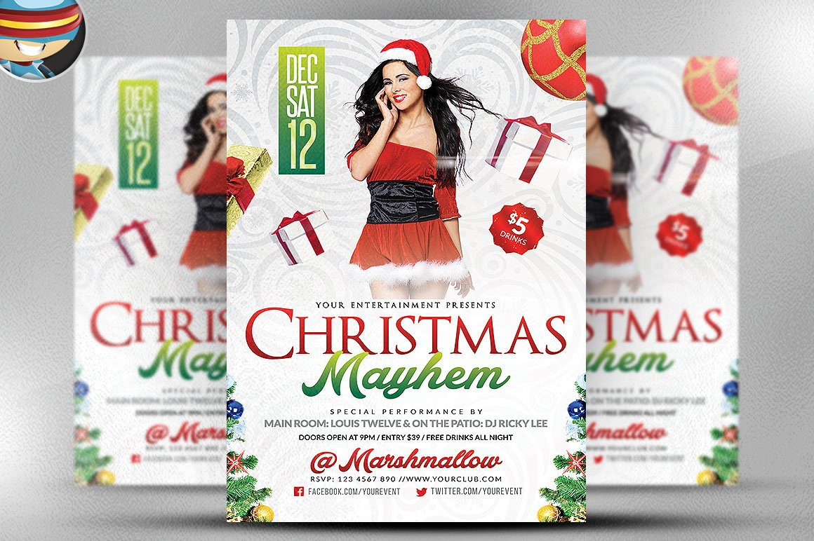 Christmas Mayhem Flyer Template Flyer Templates on Creative Market – Mayhem Flyer Template