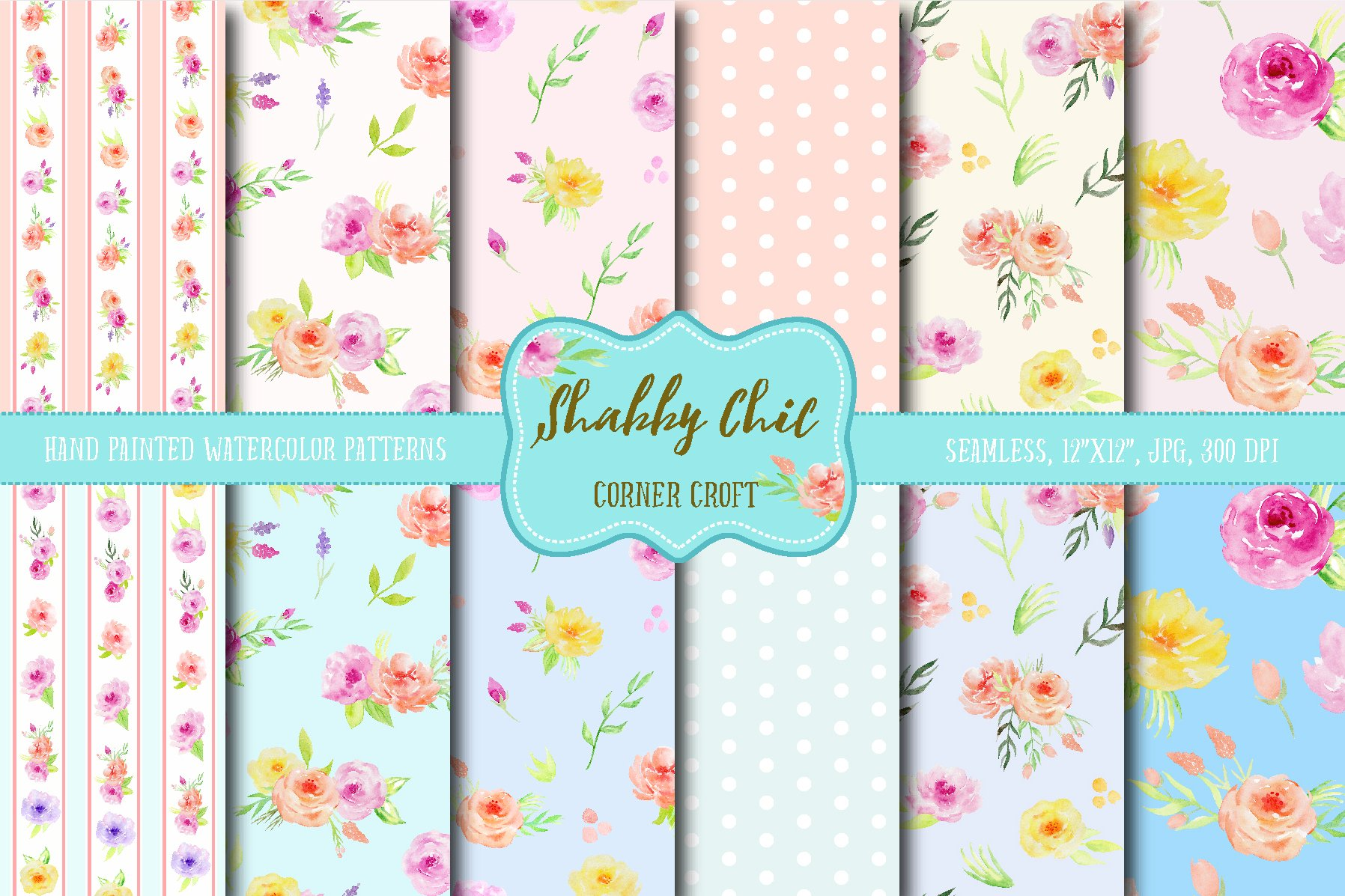 watercolor digital paper shabby chic patterns creative market. Black Bedroom Furniture Sets. Home Design Ideas