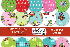 Buttons 'n' Bows Christmas papers