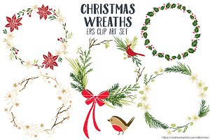 Christmas Wreaths Clipart Vector EPS