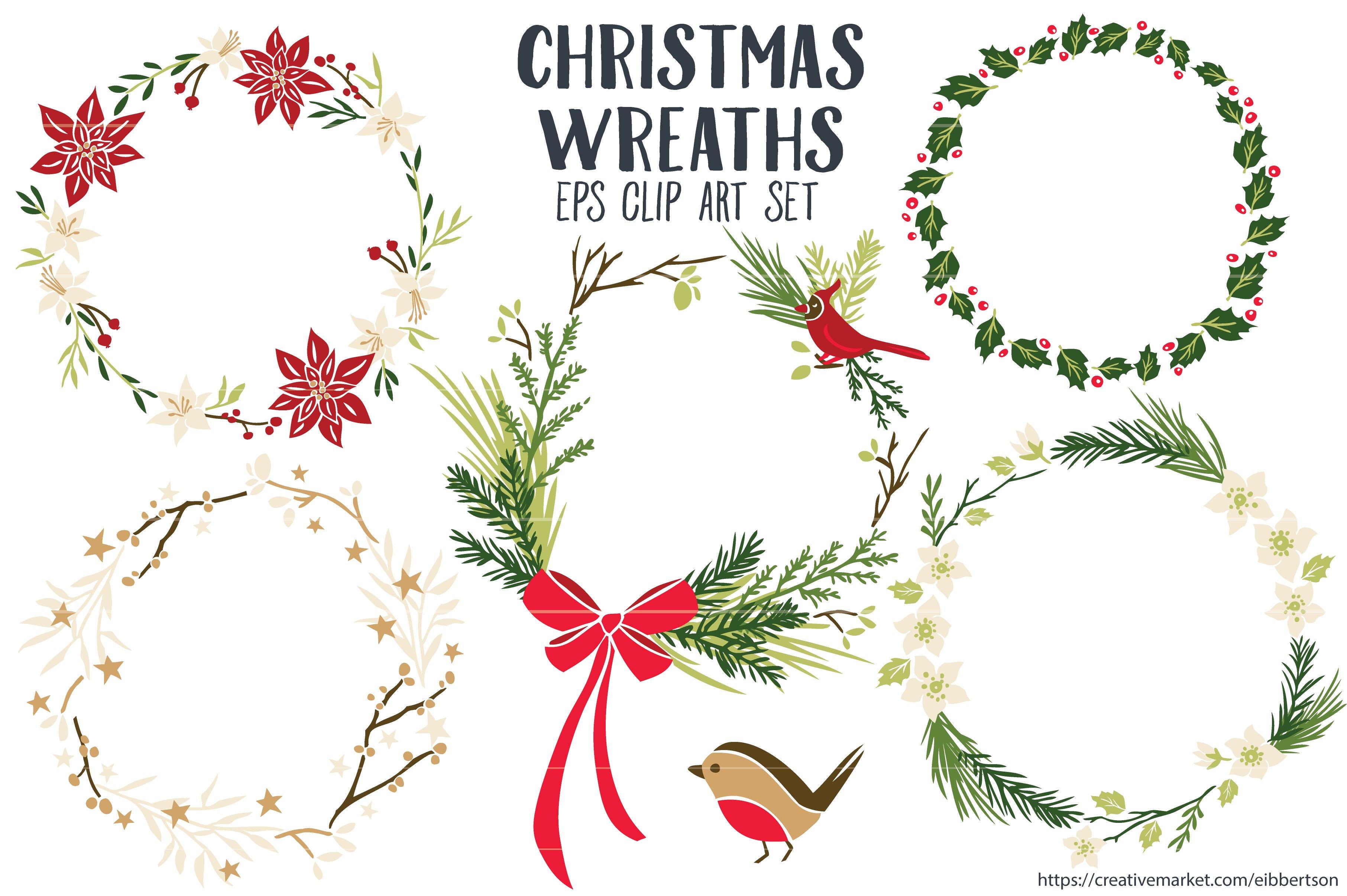 Christmas Wreaths Clipart Vector EPS Illustrations Creative Market