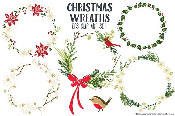 Christmas Wreaths Clipart Vector EPS Illustrations Creative Market