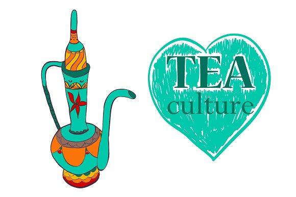 Tea culture. Turkey. Hand drawn - Illustrations