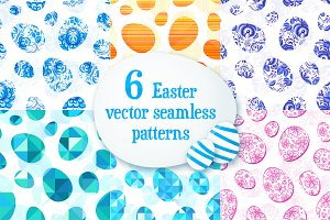 6 Easter eggs seamless patterns