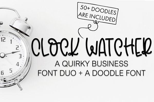 Clock Watcher Font Duo + Doodles