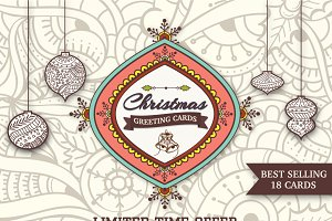 Christmas Greeting Cards (Set of 18)