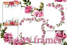 Frame from roses. Roses brunch.