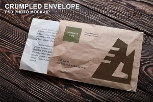 Opened Crumpled Envelope Mock-up